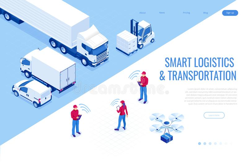 Isometric Mobile smart phone with mobile app delivery tracking. Smart logistics and transportation concept. Isometric Mobile smart phone with mobile app royalty free illustration