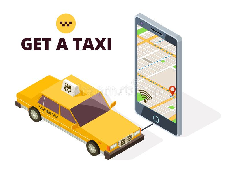 Isometric mobile taxi and gps city map. Navigation system for taxi and life with 3D smartphone and taxi car stock illustration