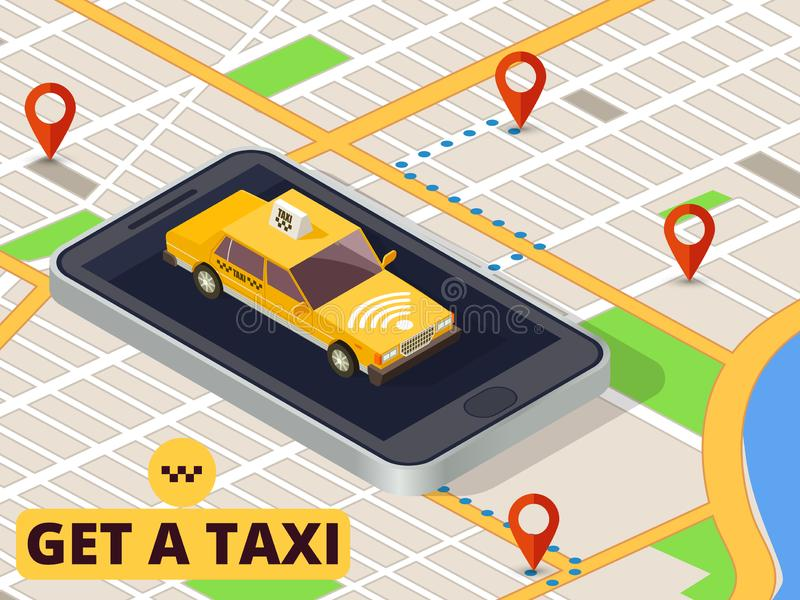Isometric mobile taxi. Online taxi service and payment with smartphone app on city map vector stock illustration