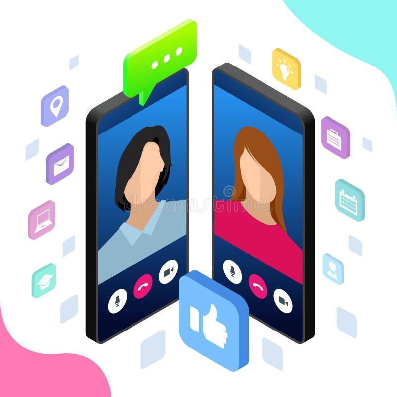 Isometric mobilna goniec gadka, online rozmowa z texting wiadomością również zwrócić corel ilustracji wektora ilustracji