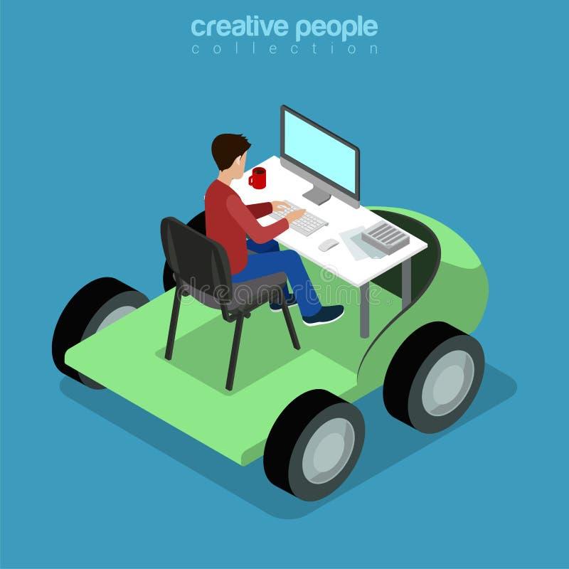Isometric Mobilnego biura mieszkania 3d mężczyzna biznesowy stół ilustracji