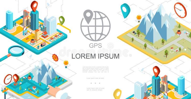 Isometric Mobilny GPS nawigaci skład ilustracja wektor