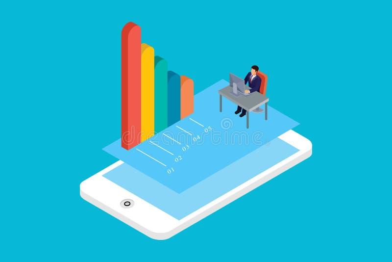Isometric mobilny pojęcie infographic, w Białym Odosobnionym tle Z ludźmi i Digital Odnosić sie wartość royalty ilustracja
