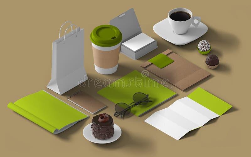 Isometric mockup branding template stock illustration