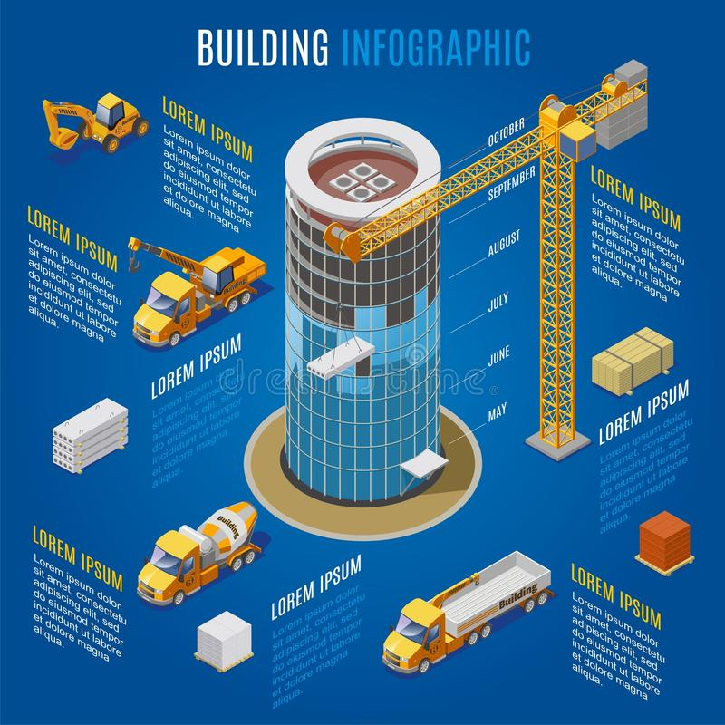 Isometric Modern Building Infographic Concept royalty free illustration