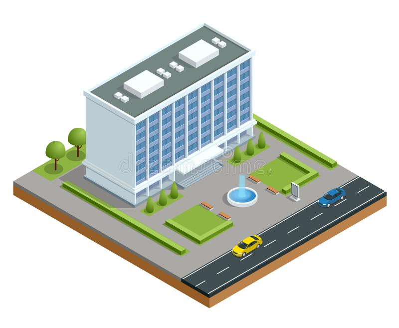 Isometric modern business center with parking and cars. Commercial office building isolated vector illustration stock illustration