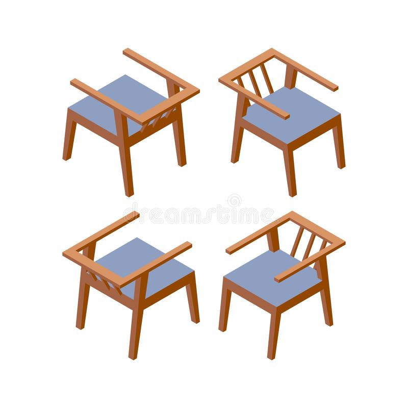 Isometric modern chair for hotel. Vector furniture concept set. Apartment, cafe or office furnishing. Home interior decoration stock illustration