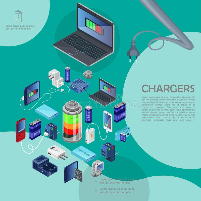 Isometric Modern Chargers Template. With power bank plug usb cable charging batteries of different capacity laptop audio player camera mobile smartwatches vector illustration
