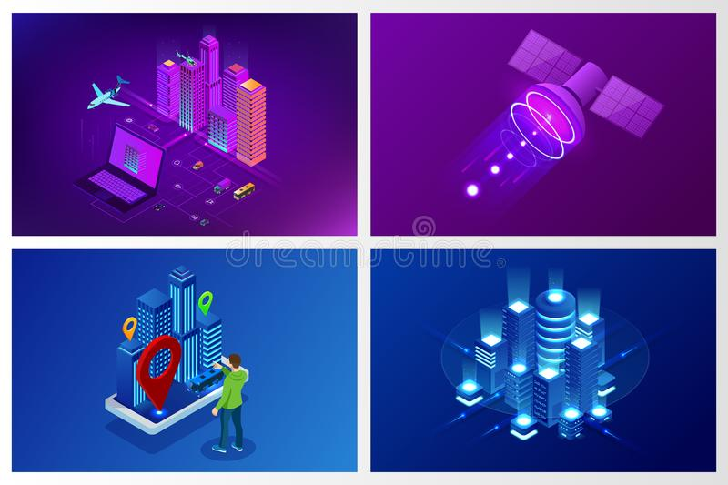 Isometric Modern city. Concept website template. Smart city with smart services and icons, internet of things, networks. And augmented reality concept royalty free illustration