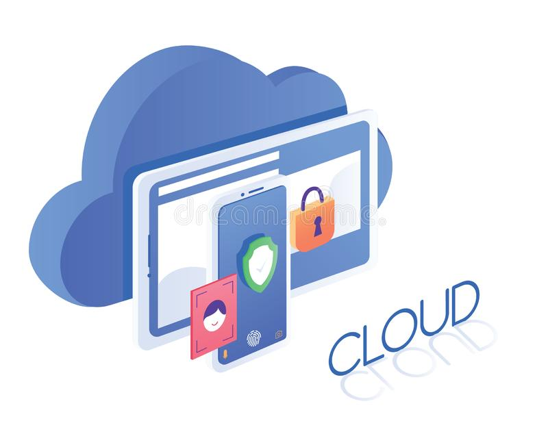 Isometric modern cloud security technology tablet and smart phone security networking concept vector. Isometric modern cloud technology tablet and smart phone vector illustration