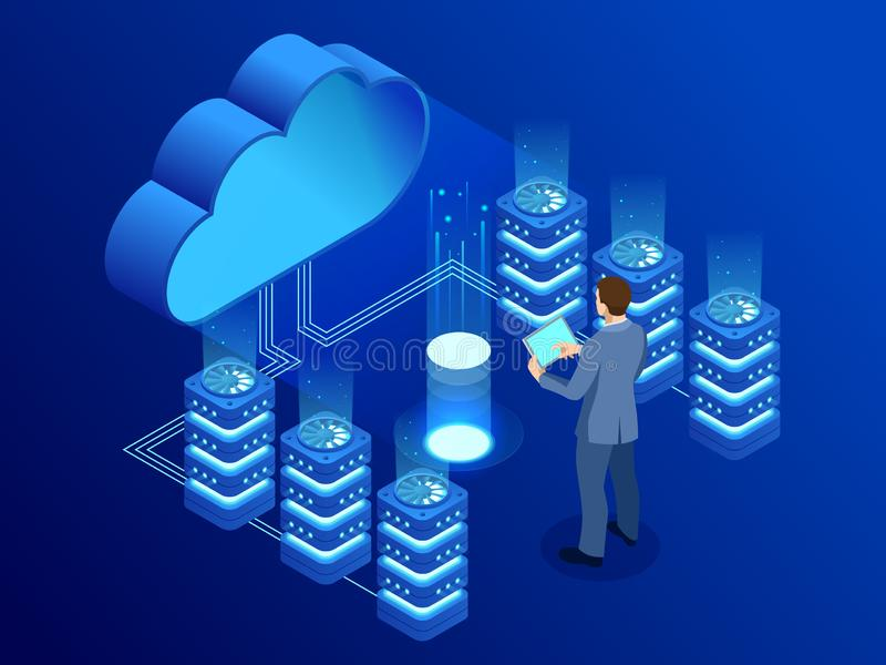Isometric modern cloud technology and networking concept. Web cloud technology business. Internet data services vector stock illustration