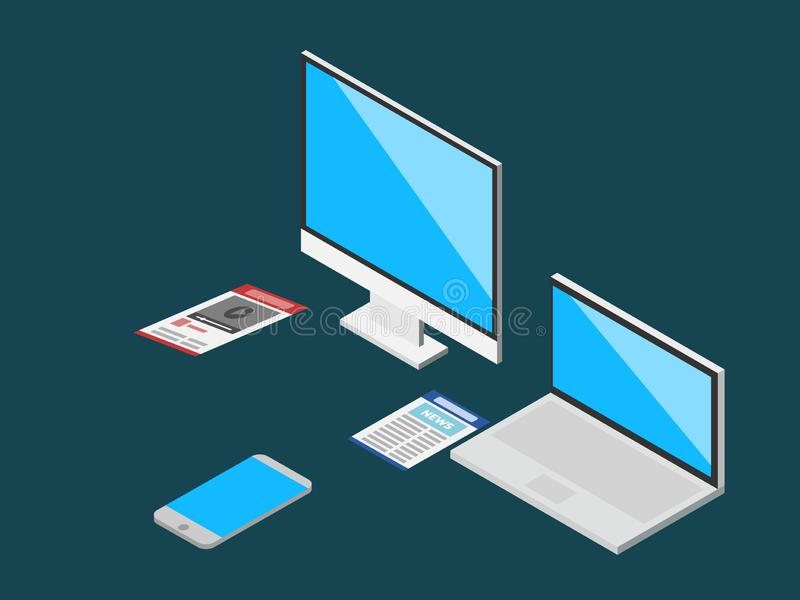 Isometric modern computer set vector illustration. Dark blue background vector illustration