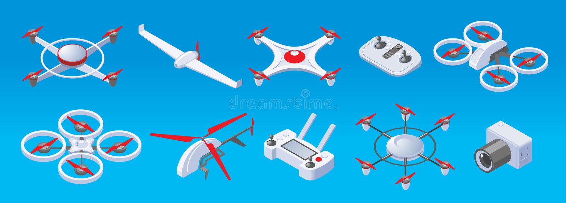 Isometric Modern Drones Set royalty free illustration