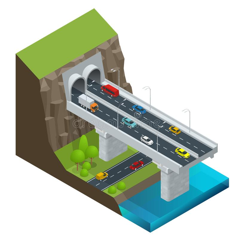 Free Isometric Modern Road Tunnel In The Mountain. Highway With Tunnel Vector Isolated Illustration. Royalty Free Stock Image - 108222346