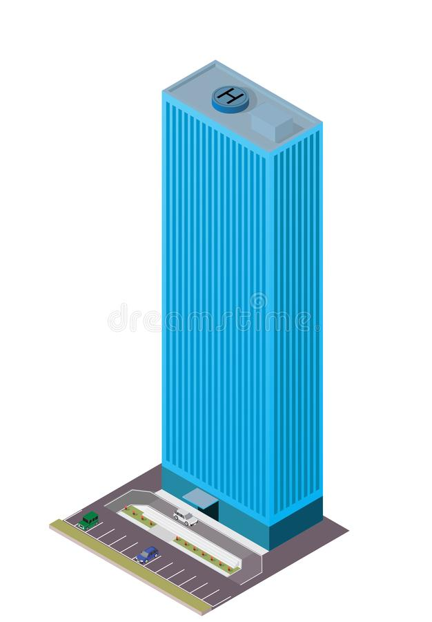 Isometric modern skyscraper with car and parking area vector illustration