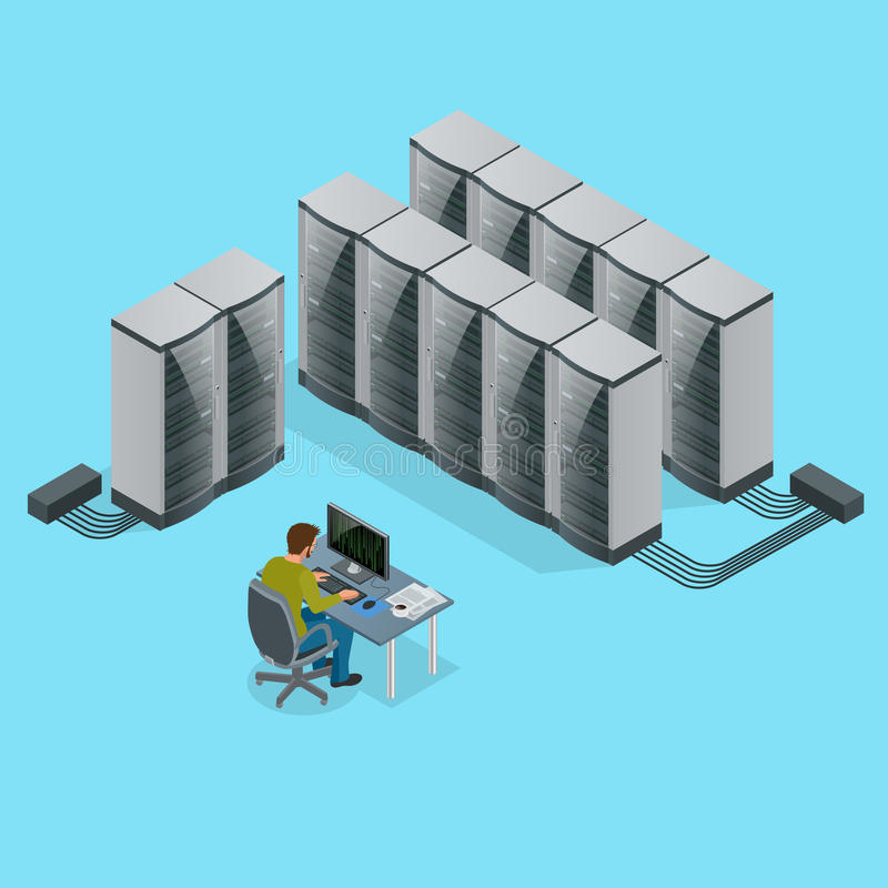 Isometric Modern web network and internet telecommunication technology, big data storage and cloud computing computer. Service business concept server room royalty free illustration