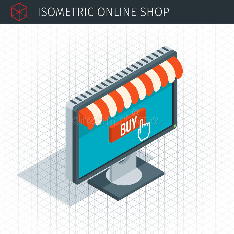 Isometric monitor with awning stock illustration