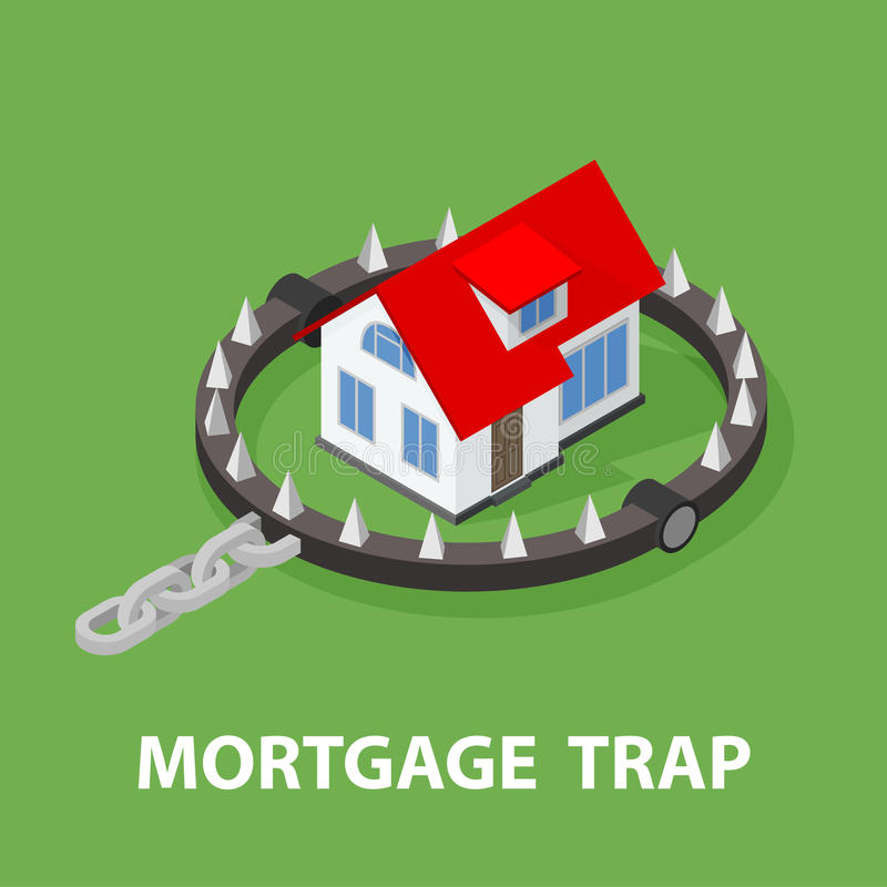 Isometric Mortgage House In Bear Trap. royalty free illustration