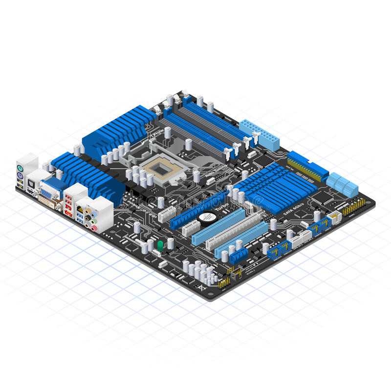 Isometric Motherboard Vector Illustration. This image is a motherboard in isometric projection royalty free illustration