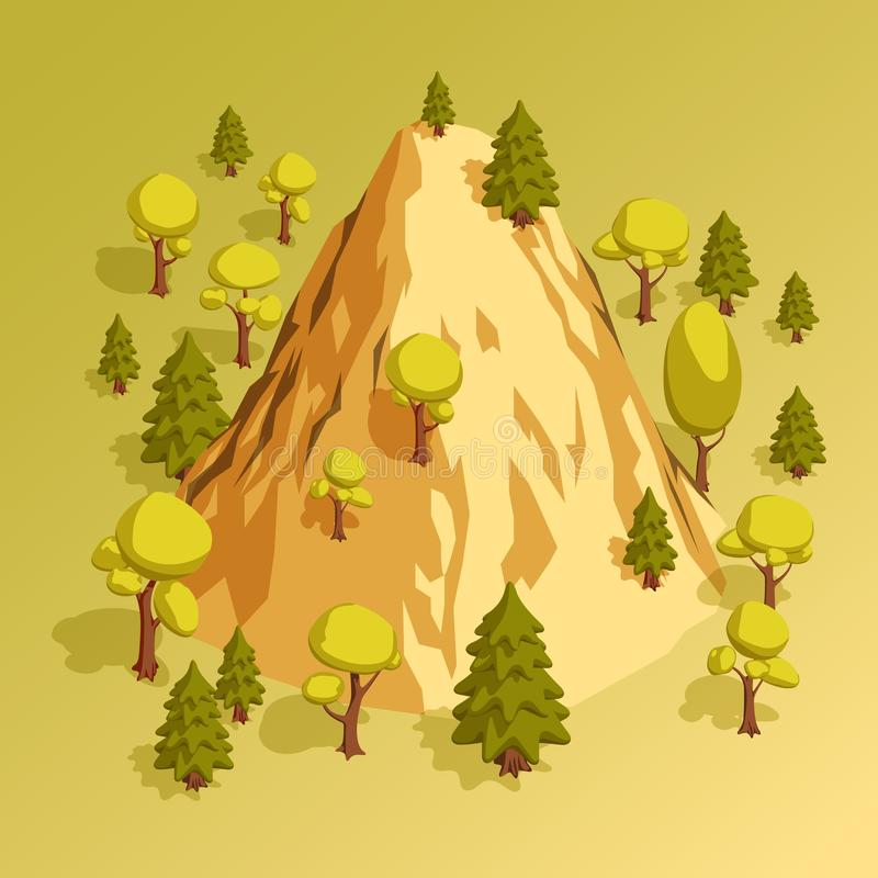 Isometric mountain hill surrounded by various trees in the forest vector illustration