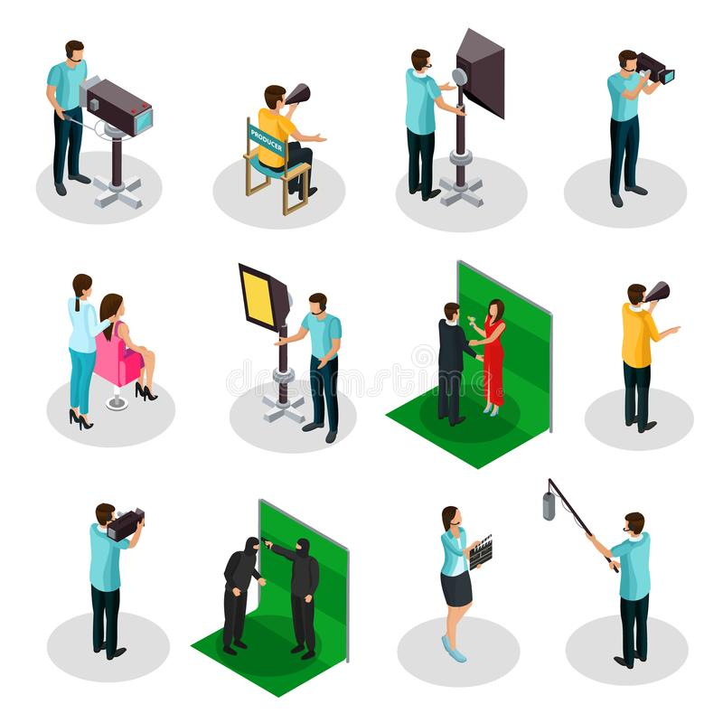 Isometric Movie Crew Shooting Collection stock illustration