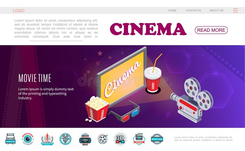 Isometric Movie Time Web Page Template stock illustration
