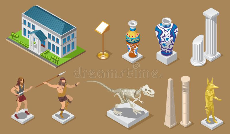 Isometric Museum Icons Collection royalty free illustration