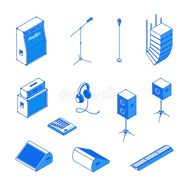 Isometric music equipment 2. Isometric music stage equipment sound system monochrome icons set.Studio monitor,microphone stand,mixing console,headphones royalty free illustration