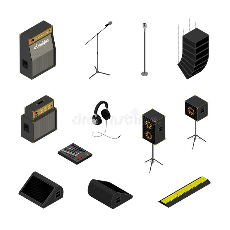 Isometric music equipment. Isometric music stage equipment sound system icons set.Studio monitor,microphone stand,mixing console,headphones,line array,amplifier vector illustration