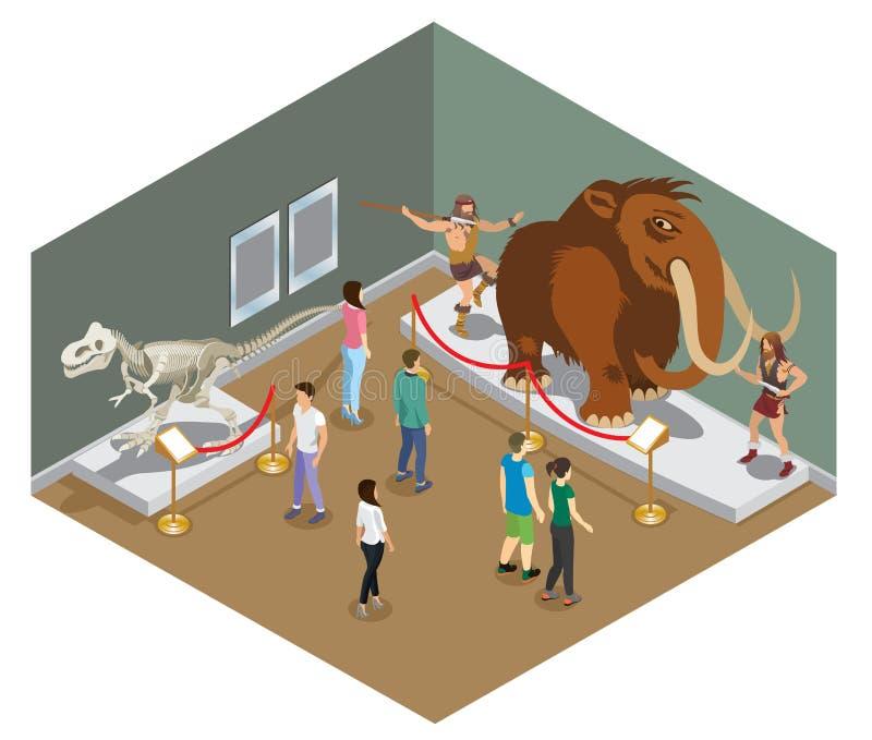 Isometric Muzealny Powystawowy pojęcie ilustracji