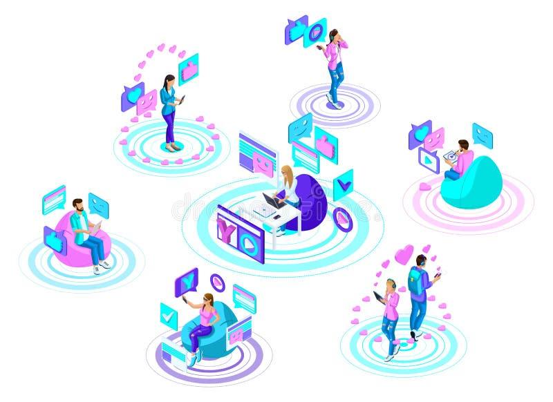 Isometric nastolatkowie z nowożytnymi gadżetami, komunikują w ogólnospołecznych sieciach i internecie Jaskrawy, kolorowy reklamow ilustracji