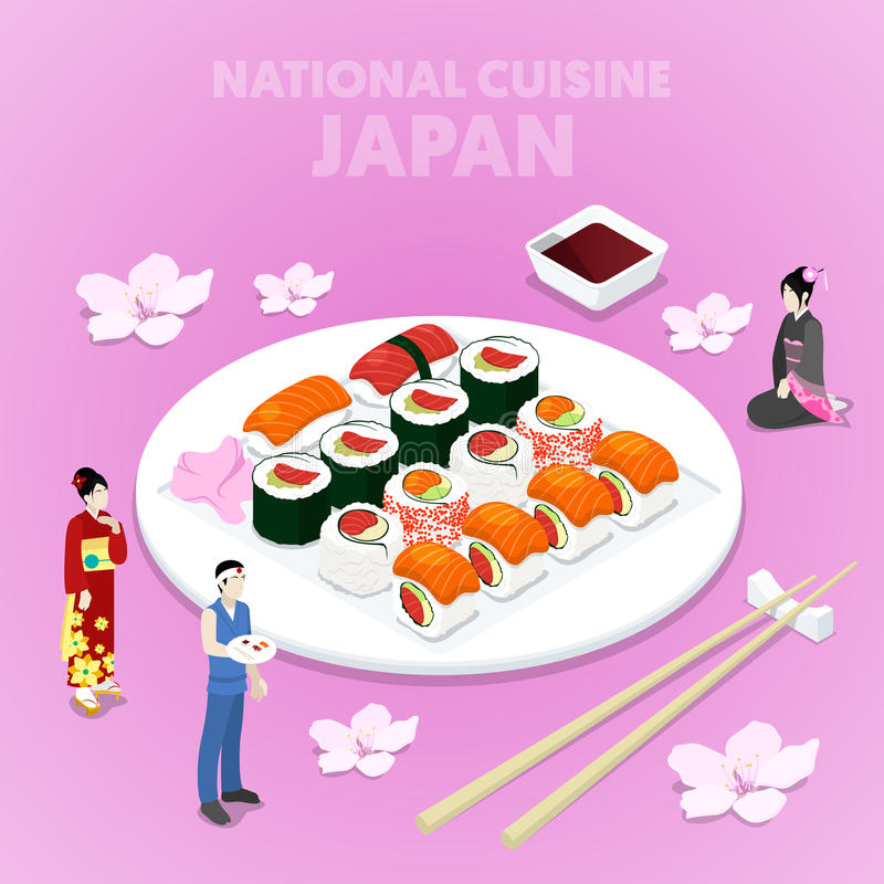 Isometric National Cuisine Japan with Sushi and Japanese People in Traditional Clothes. Vector 3d flat illustration stock illustration