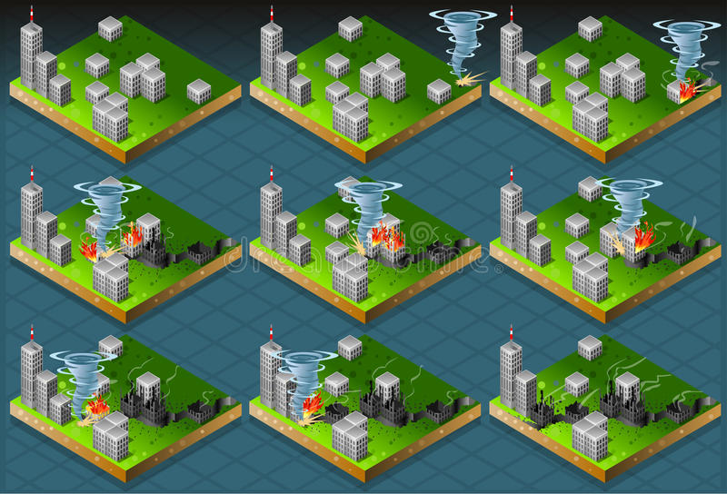 Isometric Natural Disaster Tornado Classifications Scale royalty free illustration
