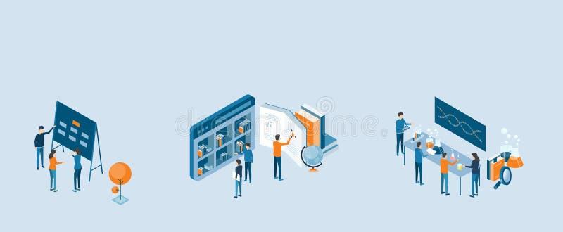 Isometric naukowa projekta procesu pojęcie z biznes drużyny działaniem ilustracja wektor