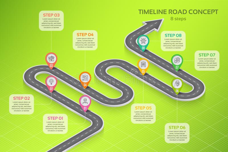 Isometric navigation map infographic 8 steps timeline concept. Vector illustration vector illustration