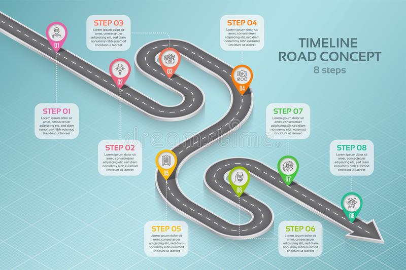 Isometric navigation map infographic 8 steps timeline concept. Vector illustration royalty free illustration