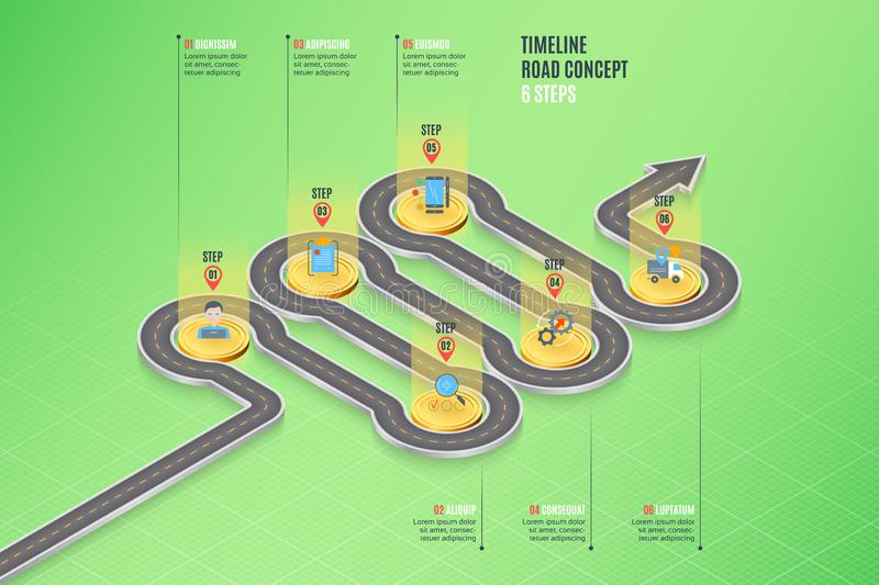 Isometric navigation map infographic 6 steps timeline concept. Vector illustration stock illustration