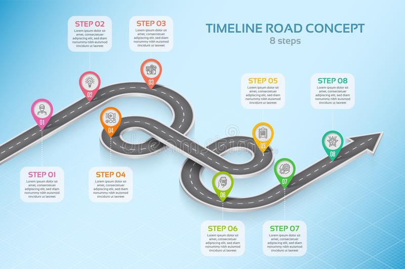 Isometric navigation map infographic 8 steps timeline concept. Winding road. Vector illustration stock illustration