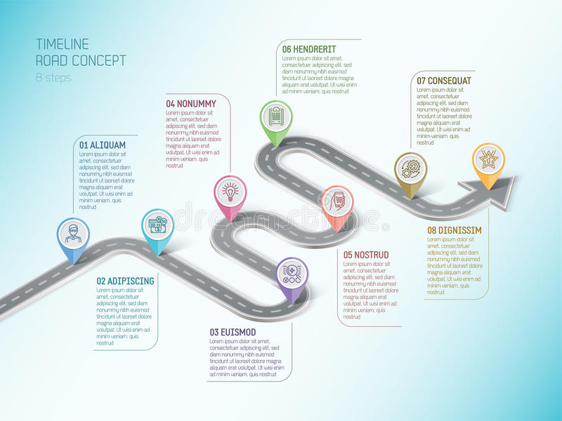Isometric navigation map infographic 8 steps timeline concept. Winding road. Vector illustration vector illustration