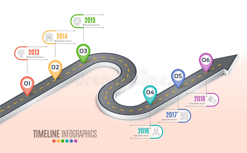 Isometric navigation map infographic 6 steps timeline concept. Winding road. Vector illustration stock illustration