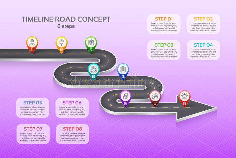 Isometric navigation map infographic 8 steps timeline concept. W. Inding road. Vector illustration vector illustration