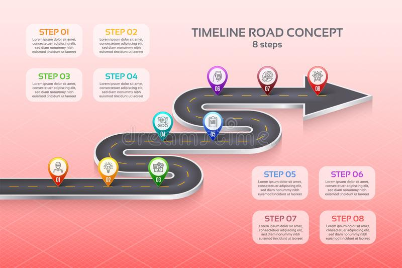Isometric navigation map infographic 8 steps timeline concept. W. Inding road. Vector illustration royalty free illustration