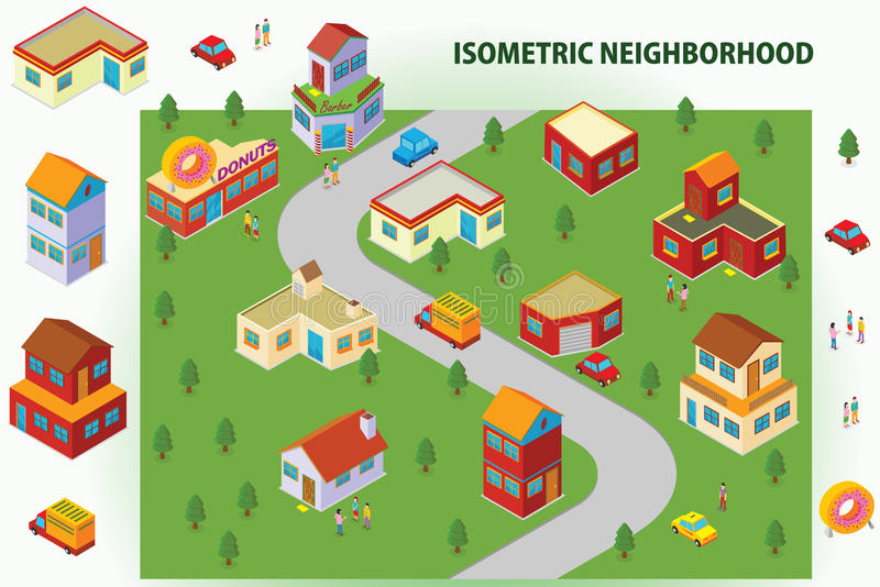 Download Isometric Neighborhood stock illustration. Image of 1940 - 38631993