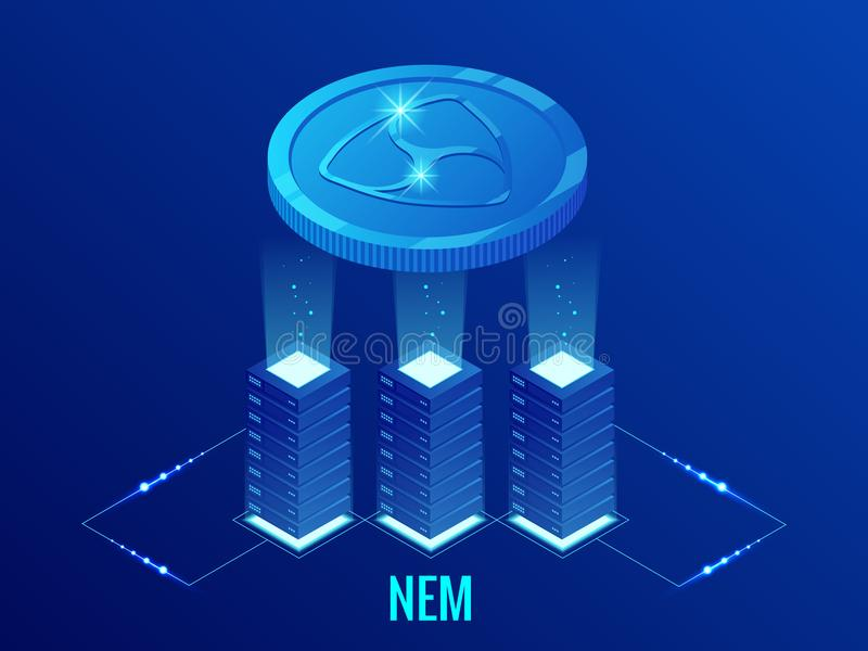 Isometric NEM Cryptocurrency mining farm. Blockchain technology, cryptocurrency and a digital payment network for stock illustration