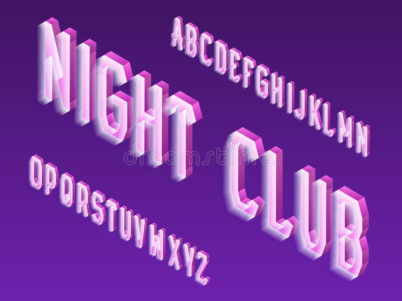 Isometric neon vector type. Luminous letters font. Isolated english 3d alphabet. Night club inscription royalty free illustration