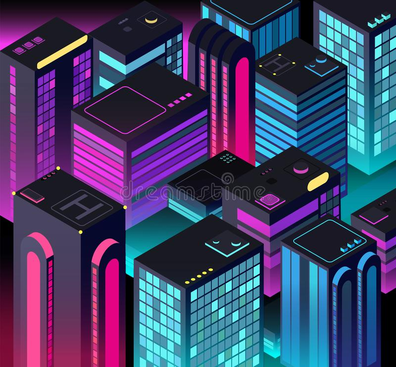 Isometric night city. 3d illuminated buildings. Future urban landscape. Vector illustration stock illustration