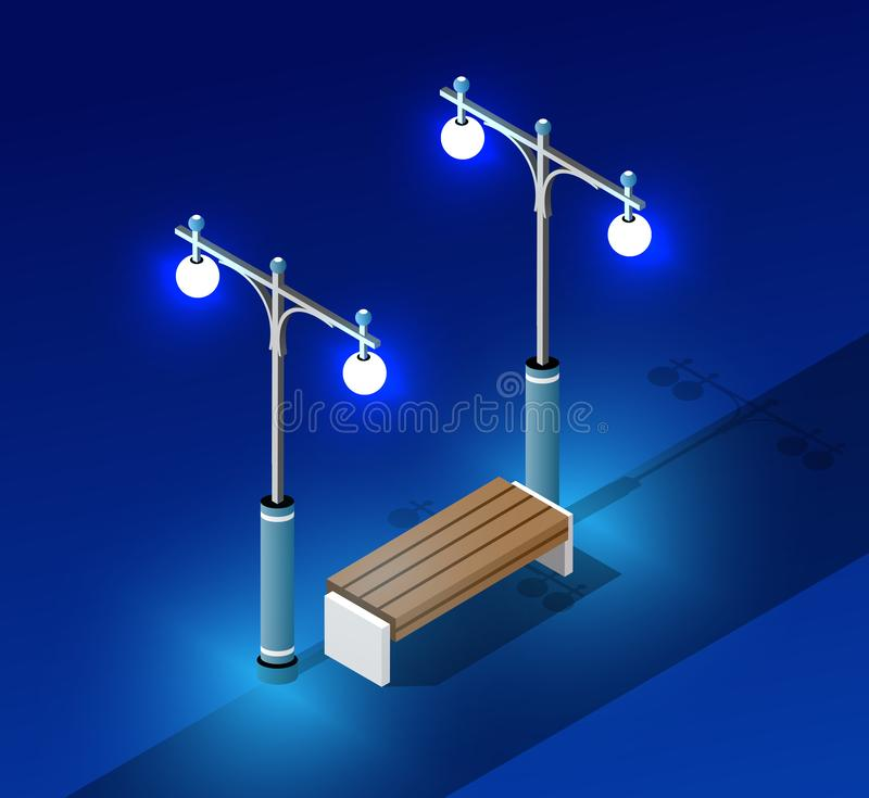 Isometric night light lighting. Ultra city concept landscape city with bench and lanterns royalty free illustration