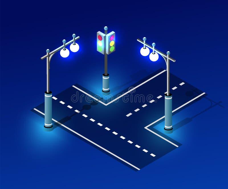 Isometric night light lighting. Ultra city concept of lanterns, an ultraviolet 3d modern design of urban street lamps. Vector illustration of modern business vector illustration
