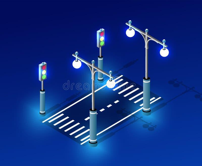 Isometric night light lighting. Ultra city concept of lanterns, an ultraviolet 3d modern design of urban street lamps. Vector illustration of modern business stock illustration