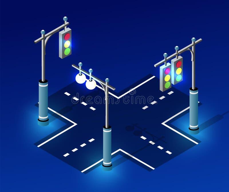 Isometric night light lighting. Ultra city concept of lanterns, an ultraviolet 3d modern design of urban street lamps. Vector illustration of modern business royalty free illustration